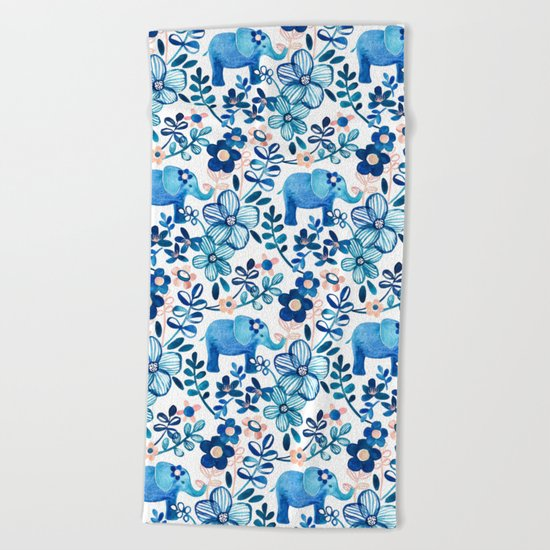 Blush Pink, White and Blue Elephant and Floral Watercolor Pattern Beach Towel