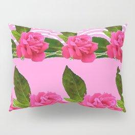 CERISE PINK GARDEN ROSES PATTERN ABSTRACT ART Pillow Sham