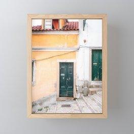 Yellow Lisbon   Front door travel photography Alfama quarter   Portugal  Framed Mini Art Print