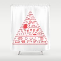 food Shower Curtains featuring Food Pyramid by Kimiaki Yaegashi