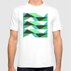 Turquoise, black & green triangles pattern White Mens Fitted Tee MEDIUM