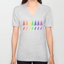 Rainbow Pencil Coloring Trees Unisex V-Neck