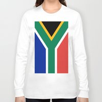 south africa Long Sleeve T-shirts featuring Flag of South Africa by Neville Hawkins