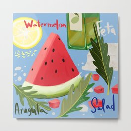 Watermelon Arugula Salad Metal Print