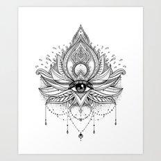 Lotus flower + All seeing eye. Art Print