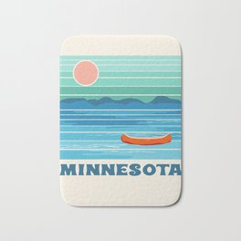 Minnesota travel poster retro vibes 1970's style throwback retro art state usa prints Bath Mat
