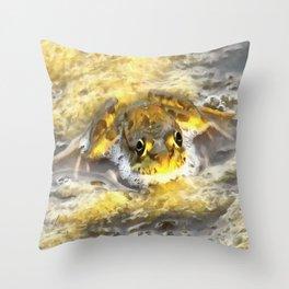 Frog In Deep Water Throw Pillow