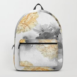 CHERRY BLOSSOMS AND YELLOW ROSES GRAY and WHITE Backpack