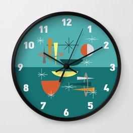 Turquoise Mid Century Modern Wall Clock
