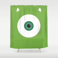 pixar Shower Curtains featuring PIXAR CHARACTER POSTER - Mike Wazowski 2 - Monsters, Inc. by Marco Calignano