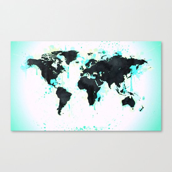 World Map Turquoise Paint and Black Ink Canvas Print