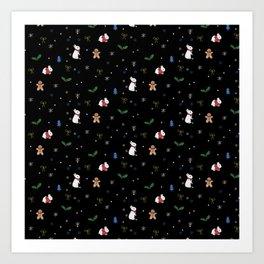 Christmas Bunnies Pattern Art Print