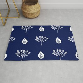 hand-drawn dark blue pattern with floral elements Rug
