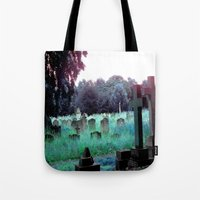 brompton Tote Bags featuring Meet You At The Cemetery Gates by I Swear I Swoon