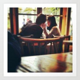 Love In A Paris Cafe. Art Print