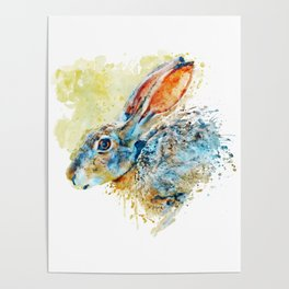 Rabbit Profile Portrait Poster