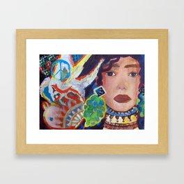 The Girl and The Bird  Framed Art Print