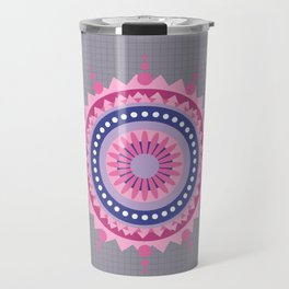 Mandala Galaxy Grey cross Pattern Travel Mug