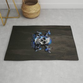 Grit and Guts Skull Neon Blue Rug