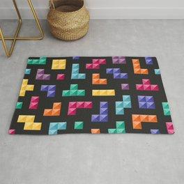 Tetris bricks jewel tones on black pattern Rug