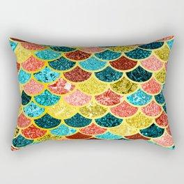 Glitter Aquas, Greens, and Gold Mermaid Scales Pattern Rectangular Pillow