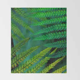 Forest Fern Green Throw Blanket