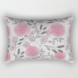 Soft and Sketchy Peonies Rectangular Pillow