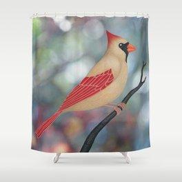 female Northern cardinal bokeh background Shower Curtain