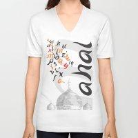 font V-neck T-shirts featuring Mahal Font by John Hernandez Art