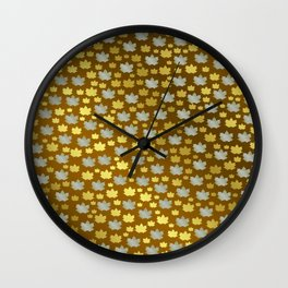 gold, silver, metal shiny maple leaf on shimmering texture Wall Clock