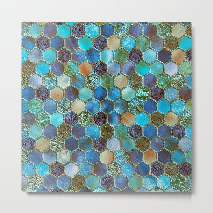Blue & green metal glitter geometric hexagonal honeycomb pattern Metal Print