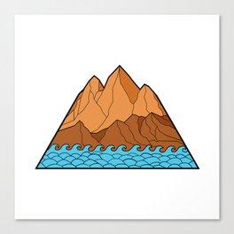 Ragged Mountain Waves Mono Line Canvas Print