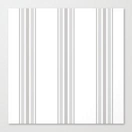 Farmhouse Ticking Stripes in Gray on White Canvas Print