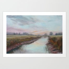 Sunset on the marshes Art Print