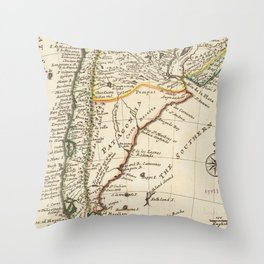 Vintage Map of Chile and Argentina (1732) Throw Pillow