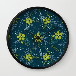 Bouquet of Flowers with Dots, Rings and Spirals Wall Clock