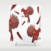 cardinal Shower Curtains featuring Cardinal by Jody Edwards Art