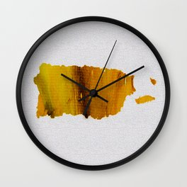 Colorful Art Puerto Rico Map Yellow Brown Wall Clock