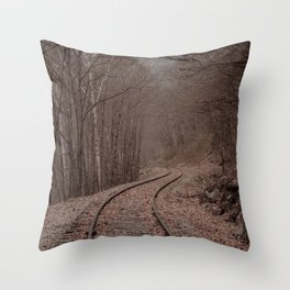 Eerie Train Tracks (Color) Throw Pillow