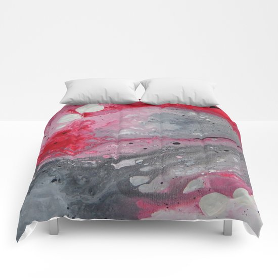 Red, black and white abstract art by Saribelle Comforters