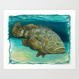 """""""Goliath Grouper"""" by Amber Marine ~ Watercolor Painting, (Copyright 2015) Art Print"""
