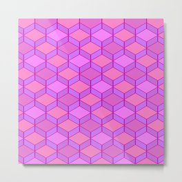 Geometric Pink and Purple Metal Print