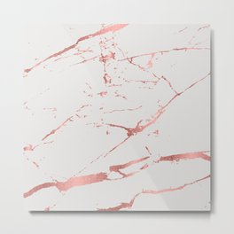 Light-gray and rose-gold faux marble texture Metal Print