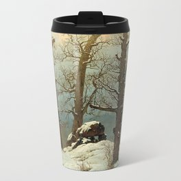 Cairn in Snow by Caspar David Friedrich, 1807 Travel Mug