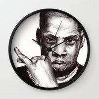 jay fleck Wall Clocks featuring Jay by Daniel Hughes
