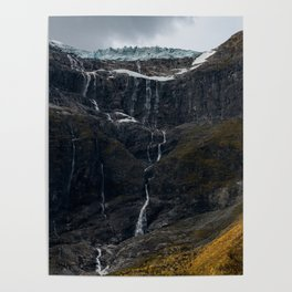 Icy Mountain Waterfall Landscape Poster