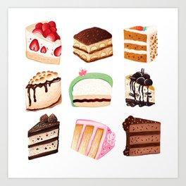 Yummy Cakes Art Print