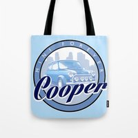 mini cooper Tote Bags featuring Cooper by Barbo's Art
