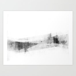 Minimalist Geometric Abstract in Grey and White Art Print
