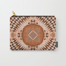 Soulful Luminous Robust Earthy Orange Ancient Checkerboard Mandala Carry-All Pouch